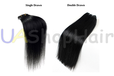Photo single drawn and double drawn hair