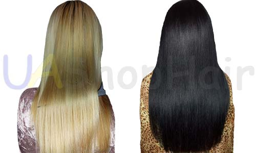 Keratin leveling on dark and blond hair