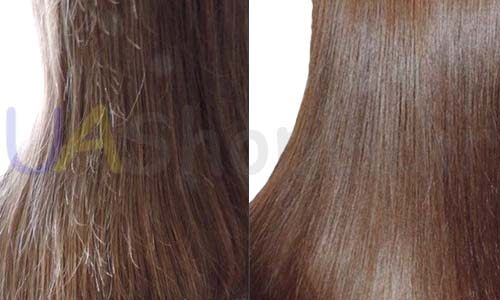 Polishing hair before and after